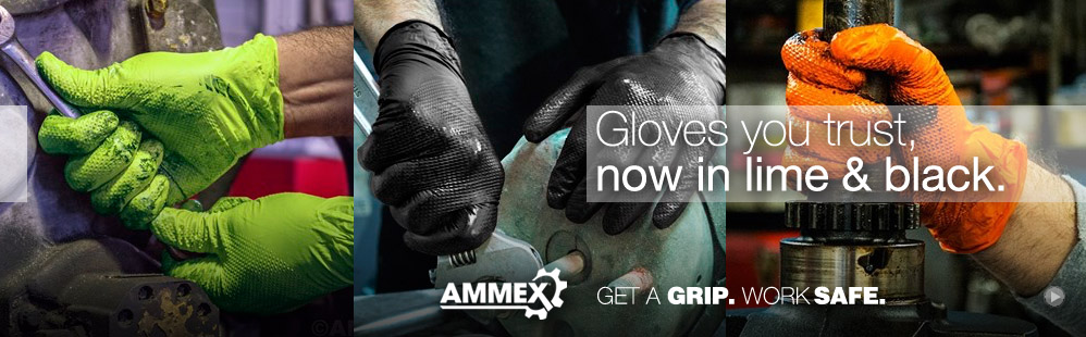 Ammex Gloves in orange, black and lime