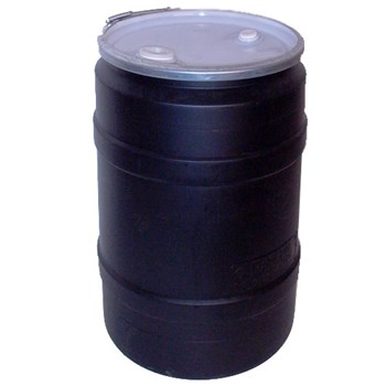 Open Head Plastic Drums w/ Lid, Straight Sides Black
