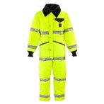RefrigiWear ANSI Class 3 Hi-Vis Iron-Tuff Coveralls with Reflective Tape, Tall, Lime