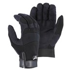 Majestic Glove® 2137BK Armor Skin™ Synthetic-leather Palm, Stretch-knit Back Mechanics Gloves, Black