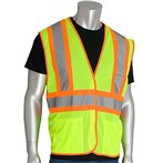 PIP® ANSI Class 2 Safety Vest, Mesh, Hook & Loop, Two-Tone Three-Pocket, Lime