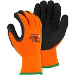 Majestic 3396HO Polar Penguin Foam Latex Dipped Palm Orange Winter-lined Napped Terry Gloves