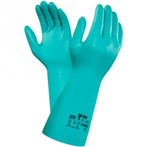 "Ansell 37-165  Sol-Vex® Chemical-resistant 15"" Long 22-Mil Straight-cuff Green Nitrile Gloves"