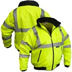 Majestic ANSI Class 3 High-Visibility Waterproof Winter Bomber Jacket, Lime