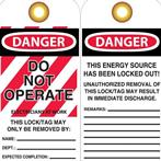 DANGER Do Not Operate/Electricians at Work Tags