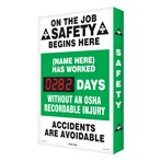 "Digi-Day® Scoreboard- ""(Your name) Has Worked __ Days Without An OSHA Recordable Injury"""