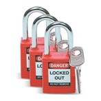 "Safety Padlocks, 1-1/2"" Shackle, 3 Pk Keyed Alike"