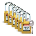 "Safety Padlocks, 1-1/2"" Shackle, 6 Pk Keyed Alike"
