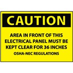 CAUTION Area in Front of This Electrical Panel...Label