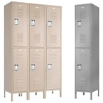 2 Tier Vanguard™ Steel  Recessed Handle Lockers, 1 wide
