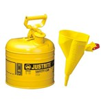 Justrite® Type I Steel Safety Cans w/ Funnels, Diesel Fuel, 2 Gallons