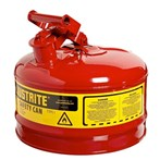 Justrite® Type I Steel Safety Can, Flammables, 2 1/2 Gallons