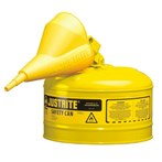 Justrite® Type I Steel Safety Cans w/ Funnels, Diesel Fuel, 2 1/2 Gallons