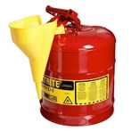 Justrite® Type I Steel Safety Can w/ Funnel, Flammables, 5 Gallons