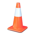 "Lakeside Plastics Safety Cone,  PVC, 18""H, 3 Lb, Reflective"