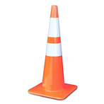 "Lakeside Plastics Safety Cone,  PVC, 28""H, 7 Lb, Tri-Glo Reflective Collars"