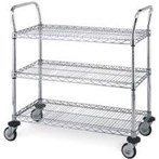 Metro MW Series Chrome Utility Carts, 3 Shelves