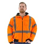 Majestic 75-1332 CSA ANSI Class 3 High-visibility  Fleece-lined Bomber Jacket, Orange