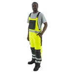 Majestic ANSI Class E Insulated Waterproof High-visibility Lime/Black Quilted Bib Overalls
