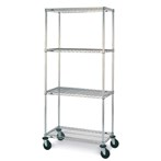 Metro Super Adjustable Super Erecta 4-Shelf Industrial Wire Shelving Stem Caster Carts