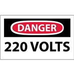 DANGER 220 Volts Label