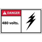 DANGER 480 Volts ANSI Label (with graphic)