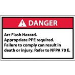 DANGER Arc Flash And Shock Hazard Appropriate PPE Required ANSI Label, v. 1