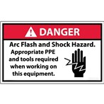 DANGER Arc Flash And Shock Hazard ANSI Label (with graphic)