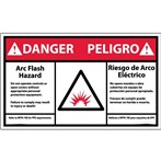 DANGER Arc Flash And Shock Hazard ANSI Label (Bilingual with graphic)