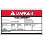 DANGER Arc Flash And Shock Hazard Appropriate PPE Checklist ANSI Label