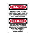 DANGER Area In Front Of This Electrical Panel Must Be Kept Clear... Sign (Bilingual)