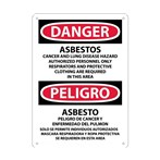 DANGER Asbestos Cancer and Lung Disease Hazard... Sign (Bilingual)