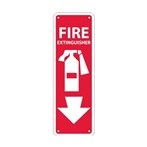 "Fire Extinguisher Signs with Graphic, 4"" x 12"""