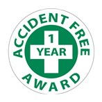 """Accident Free 1 Year Award"" Hard-hat Emblem"