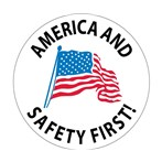 America And Safety First! Hard Hat Emblem