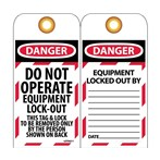 DANGER Do Not Operate Equipment Lockout Tags