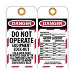 DANGER Do Not Operate Equipment Lockout Tag With Group Lockout Info