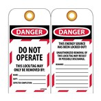 DANGER Do Not Operate Lockout Tags