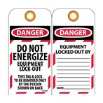 DANGER Do Not Energize Equipment Lockout Tags