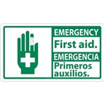 EMERGENCY First Aid ANSI Sign (Bilingual with Graphic)