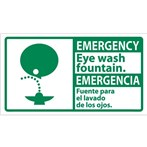 EMERGENCY Eye Wash Fountain ANSI Sign (Bilingual with Graphic)