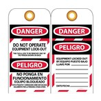 DANGER Do Not Operate Equipment Lockout Tag (Bilingual)