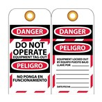 DANGER Do Not Operate Equipment Tag-Out Tag (Bilingual)