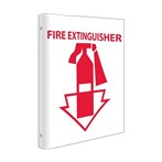 "Fire Extinguisher Flanged Signs with Graphic, 8"" x 10"""