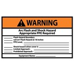 WARNING Arc Flash And Shock Hazard Appropriate PPE Required ANSI Inspection Label