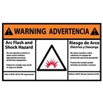 WARNING Arc Flash And Shock Hazard ANSI Label (Bilingual with Graphic)