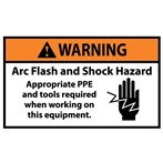WARNING Arc Flash And Shock Hazard Appropriate PPE Required ANSI Label (with graphic)