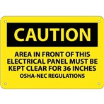 CAUTION Area In Front Of This Electrical Panel... Sign