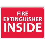 Fire Extinguisher Inside Signs, White on Red