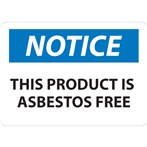 NOTICE This Product Is Asbestos Free Label